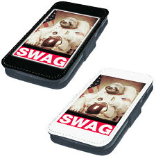 Swag Sloth Astronaut Printed Faux Leather Flip Phone Cover Case