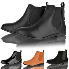 WOMENS LADIES CHELSEA LOW HEEL FLAT GUSSET RIDING SLIP ON ANKLE BOOTS SHOE SIZE