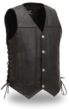 First Mfg Buffalo Leather Nickel Men's Motorcycle Vest Concealed Gun Pockets