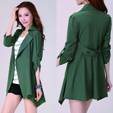 Women Trench Long Sleeve Button Casual Jacket Coat Cardigan Outwear Three Color