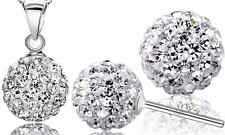 Sterling Silver White Disco Ball Pendant Necklace Stud Earrings Set Chain F10