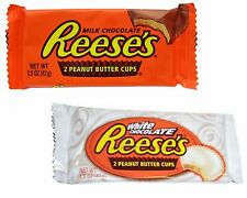 Reese's Milk or White Chocolate PEANUT BUTTER CUPS Candy 24 - 1.5 oz. Packs