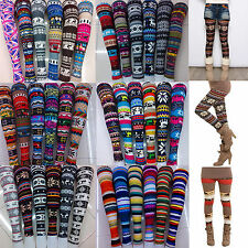 Women Skinny Print Leggings Stretchy Sexy Jeggings Pencil Tights Pants 19colors