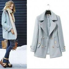 Fashion Women's Lapel Double-breasted Woolen Mid-Long outwear coat jacket