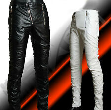 Cool New Men's Pu Leather Punk Style Pencil Straight Pants Show Motor Trousers