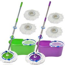 Easy Magic Floor Mop 360° Bucket 2 Heads Microfiber Spin Rotating 2 color option