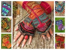 ♥ ~ ENCHANTING TOADSTOOL PIXIE SLEEVES FLEECE LINED GREEN BLUE RED HIPPIE GLOVES