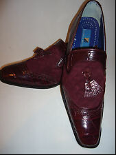 Mens Giorgio Brutini 210797 Burgundy Quilted Suede & Leather Tasselled Loafers