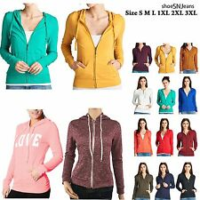NEW Cotton Zip Up Hoodie Plain Sweatshirt Long Sleeve Jacket (S to Plus Size)