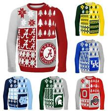 NCAA College 2014 Logo Ugly Christmas Sweater Busy Block Style - Pick Your Team!