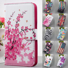 Watercolor Flip Leather PU Wallet Stand case cover Skin For Multi Phone Model