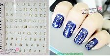 Foil Metal Gold Silver Letters 3D Nail Art Decals Stickers DIY Decorations