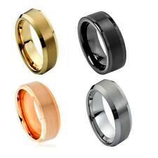 Black Tungsten Carbide Wedding Band Ring Mens Jewelry Comfort fit Brushed Center