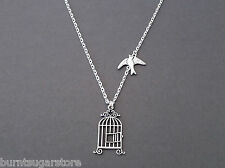 Silver Flying Free Bird Charm and Cage Necklace Pendant Graduation Gift Jewelry