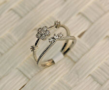 2pcs/Set Vogue Flower Crown Bride Zircon 18K Gold Plated Lady Ring Size 6/7/8