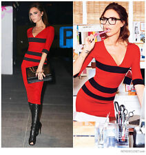 Victoria Beckham Celeb style,Red bodycon.pencil.office,party business dress