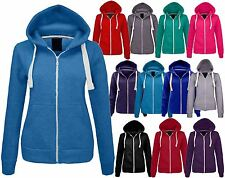 New Womens Plain Zip Hoodie Sweatshirt Fleece Ladies Hoody Jacket Top Size 8-14