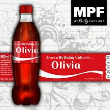 Personalised Birthday 'Share a Coke' 500ml Bottle Labels (Set of 5)