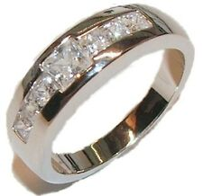 Men's Sterling Silver AAA Quality CZ Wedding Ring Band