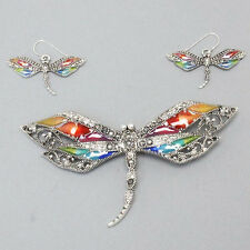 Dragonfly Pendant & Earring Sets Pewter Multi-Color NEW
