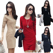 New Sexy Women's Dresses Tunic Sexy Round Neck Slim Cocktail Causal Dress