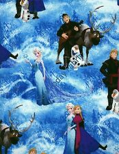 Disney's Frozen Character Scenes Blue - 51877-1600715  (sold by the 1/2 yard)
