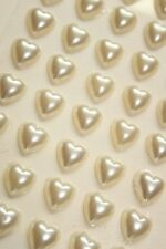 100 10mm Pearl Rhinestone Self Adhesive stick on Hearts ALL COLOURS