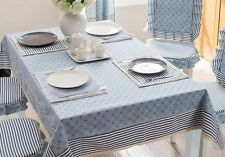 """79""""X59"""" Rectangle Cotton Table Cloth Table Cover For Kitchen 031 Blue"""