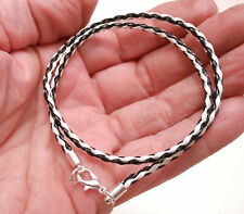 Braided 3mm Leather Cord Surfer Choker Necklace with Lobster Clasp -Unisex