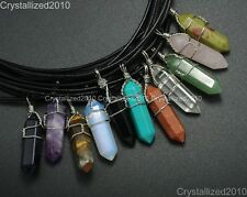 Natural Gemstone Hexagonal Pointed Reiki Chakra Wire Wrap Real Leather Necklace
