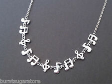 Silver Music Note Necklace Treble Clef Jewelry Quaver Charm Musical