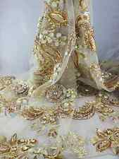 ELITE FLORAL EMBROIDERED MESH BRIDAL DRESS LACE BIG STONES+APPLICA  FABRIC