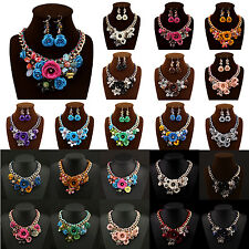 New Charm Flower Chain Crystal Choker Chunky Statement Bib Collar Necklace Set