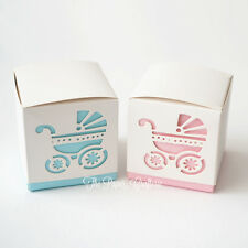 BABY SHOWER BOXES Square Favour Boxes Pram Party Gifts Candy Lolly 10 pcs