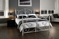 4FT6 Sherry White Metal Bed Frame Crystal Finials Open Coil Mattress Now Avaibal