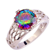 Great Rainbow Topaz Pretty Classic Jewelry Gem Silver Ring Size 6 7 8 9 10 11 12
