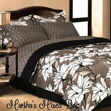 TROPICAL HAWAIIAN FLORAL BLOSSOM King & Queen Size TAUPE BROWN Comforter Set