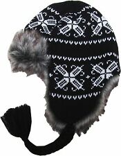 Trapper Bomber Aviator Russian Trooper Fur Earflap Winter Ski Hat Mens Womens