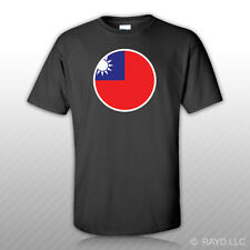 Round Chinese Flag T-Shirt Tee Shirt Free Sticker peoples republic of china red