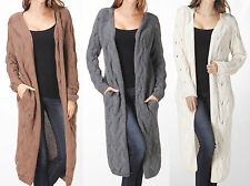 Maxi Cardigan Cable Knit Textured Open-Front Sweater Long Sleeves Top - S M L