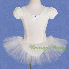 Puff Sleeves Lace Ballet Tutu Ballerina Dance Costume Leotard Kid Size 2-8 #035