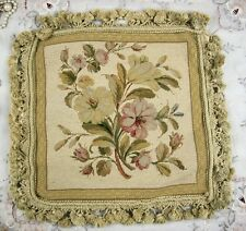 Beautiful Various Flowers Needlepoint Pillow Cushion With Vintage Color Fringe