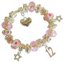 GIRLS CHARM BRACELET PINK BIRTHDAY MESSAGE CHARM 9TH 10TH 11TH 12TH 13TH GIFT