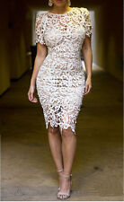 Sexy Women Hollow out embroidery Lace Cocktail Bodycon Party Pencil Prom Dress