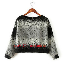 3D Circle Mixed Line Appliques Stitching Pullover Short T-shirts Long sleeve Top