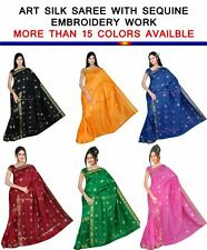 Indian Embroidery sequance Art Silk Sari saree Curtain