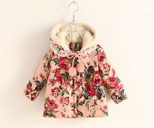 New Toddlers Girls Kids Winter Lace Flower Hooded Cotton Coat Jacket Size 2-7Y