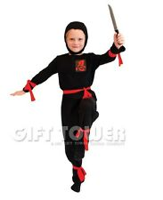 NEW Ninja Child Kids Halloween Costume Outfit Cosplay Boy KungFu Hero Black