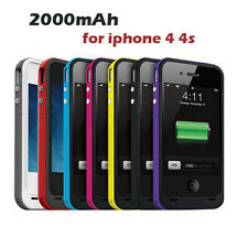 New 2000mAh External power bank Charger pack backup battery case for iphone 4 4s