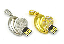 New 4-32GB Crystal Gold / Silver Heart Pendant USB2.0 Flash Memory Pen Drive